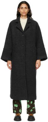 Ganni Black WoolBoucle Oversized Coat