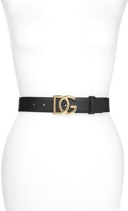 Dolce & Gabbana Interlock Logo Buckle Leather Belt
