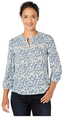 Lucky Brand Inset Lace Popover Top (Blue Multi) Women's Clothing