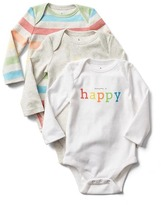 Gap PersonaliTees happy bodysuit (3-pack)