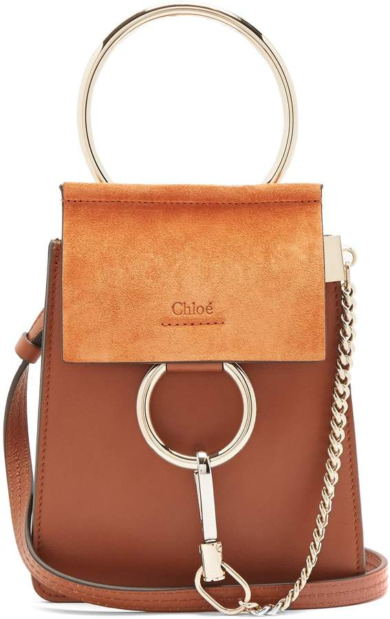 Chloé Faye mini suede-panel leather cross-body bag