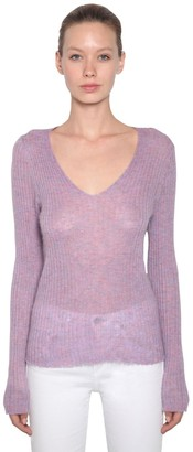 Rag & Bone V Neck Mohair Blend Rib Knit Sweater