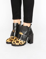 Office Apex Buckle Leopard Chunky Heeled Ankle Boots