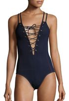 Jonathan Simkhai One-Piece Lace-Up Grommet Swimsuit