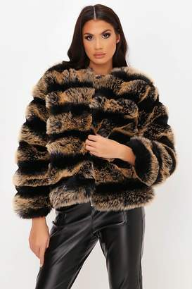 I SAW IT FIRST Brown Contrast Pelted Fur Coat