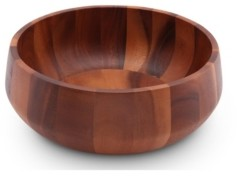 Arthur Court Acacia Wood Serving Bowl for Fruits or Salads Modern Round Shape Style Large Wooden Single Bowl