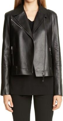 Lafayette 148 New York Bernice Leather Moto Jacket