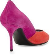 Pierre Hardy Colorblock Peep-Toe Pump, Red/Fuchsia