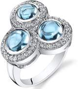 Ice 3.00 carats Swiss Blue Topaz Trinity Ring Sterling Silver