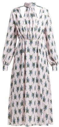 Emilia Wickstead Marguera Floral-print Crepe Midi Dress - Blue Print