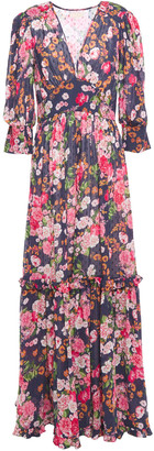 By Ti Mo Gathered Floral-print Fil Coupe Maxi Dress