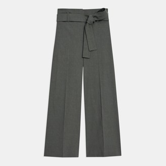 Theory Belted Cropped Pant in Good Linen