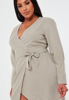 Missguided Plus Size Cream Plaid Puff Sleeve Wrap Dress