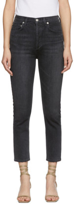 A Gold E Agolde AGOLDE Black Riley High Rise Straight Crop Jeans