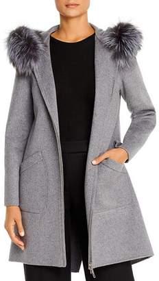 Maximilian Furs Fox Fur-Trim Wool Coat