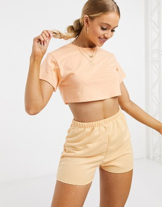 ASOS DESIGN lounge co-ord crop tee in washed peach