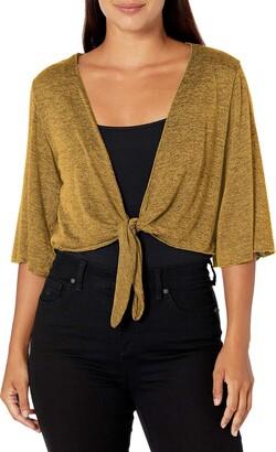 Star Vixen Women's Petite Stretch Hacci Knit Tie-Front Shrug Sweater