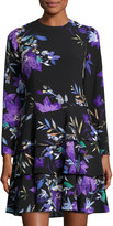 Eliza J Long-Sleeve Ruffled-Hem Floral-Print Dress, Black