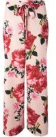 Dorothy Perkins Womens Blush Print Tie Palazzo Trousers- Pink