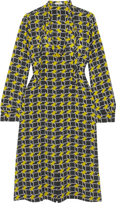 Tomas Maier Pussy-bow Printed Silk Crepe De Chine Midi Dress
