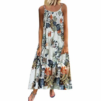 7Lucky Women's Casual Loose Sundress Sleeveless O-Neck A-line Swing Sling Dress Vintage Floral Printed Maxi Dresses Casual Beach Sundress Plus Size S-5XL Pink