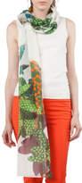 Akris Punto Tropical-Leave Printed Cashmere Scarf