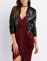Charlotte Russe Sequin Cropped Bomber Jacket