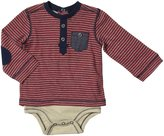 Kapital K Striped Two-Fer Bodysuit (Baby) - Crimson - 0-3 Months