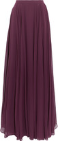 Halston Pleated georgette maxi skirt