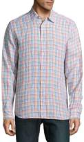 Saks Fifth Avenue Men's Casual Gingham Linen Shirt - Blue-yellow-red, Size l