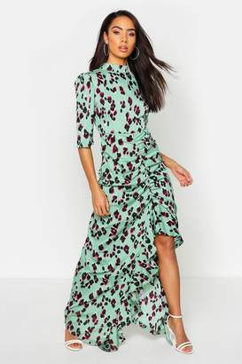 boohoo High Neck Ruffle Front Animal Print Maxi Dress