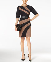 Connected Faux-Suede Panel Sheath Dress