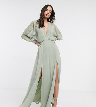 ASOS DESIGN embroidered yoke crinkle chiffon maxi dress