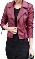 Ur-fashion Womens Faux leather Detachable Cap Jacket with Pocket