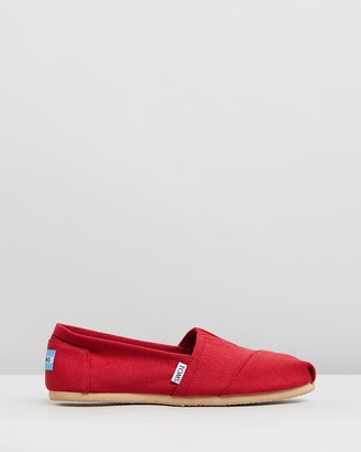 Toms Women's Red Flats - Canvas Classics - Women's - Size One Size, 9 at The Iconic