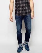 Nudie Jeans Slim Jim Straight Fit Orange Embo Dark Wash - Blue