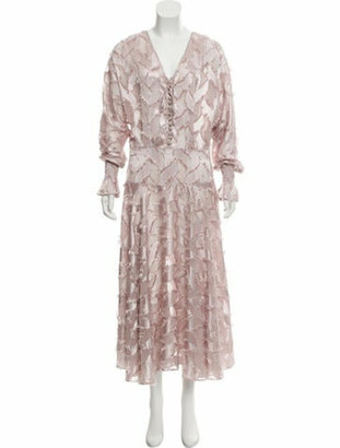 Astier Ny Raw-Edge-Trimmed Maxi Dress w/ Tags Mauve