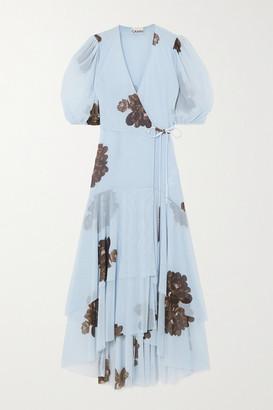Ganni Floral-print Stretch-mesh Wrap Midi Dress