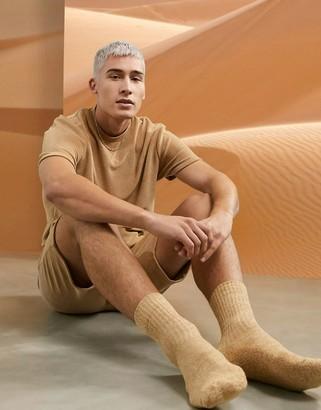 ASOS DESIGN lounge t-shirt and shorts pyjama set in beige towelling