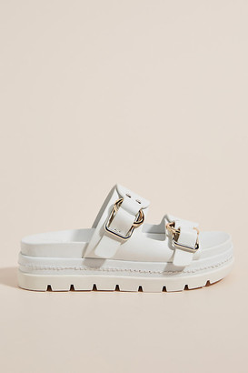 J/Slides Double Buckle Sport Sandals By in White Size 10