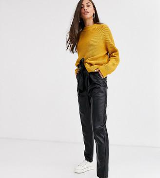 New Look Tall tie waist leather look pants in black