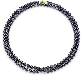 DaVonna 14k Gold Peacock Black FW Pearl 30-inch Necklace