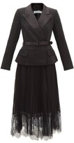 Thumbnail for your product : Self-Portrait Crepe And Pleated-chiffon Midi Dress - Black