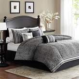 Barton Black 7 Piece Madison Park Stylish Premium Quality Elegant Queen Size Comforter Set, 1 comforter, 1 bedskirt, 2 shams and 3 pillows