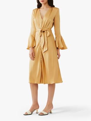 Ghost Annabelle Flared Sleeve Satin Dress