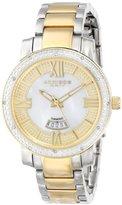 Akribos XXIV Women's AK507TT Diamond Accented Swiss Quartz Gold Two-Tone Stainless Steel Bracelet Watch