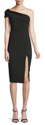 Jay Godfrey Surrey One-Shoulder Midi Sheath Dress