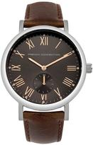 French Connection Cool Grey Satin Sunray Dial Brown Padded Leather Strap Mens Watch