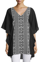 Tolani Juliana V-Neck Embroidered Caftan, Onyx, Plus Size