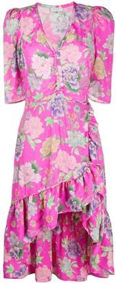Leoni floral-print ruffle-hem midi dress